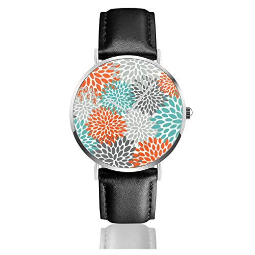 Armbanduhr, florales Muster, abstraktes Orange, Blaugrün und Grau, Edelstahl, klassisches Lederarmband Orange Floral Muster