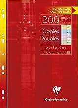 Clairefontaine 47111C -na confezione di 200 pagine di tessere doppie perforate di dimensioni 21x29,7 cm, vendute singolarmente - Colori Assortiti