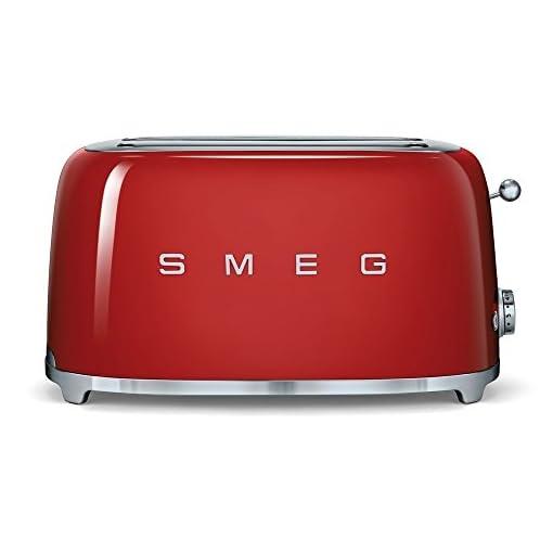 Acciaio Inossidabile Smeg Tostapane TSF02RDEU Rosso 4 Scomparti 1500 W