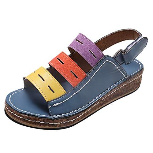 Wawer_Damen Sandalen 🍑 Mode-Frauen-Sommer-Plattform-Bügel-Sandale Roman Wedges beiläufige Peep Toe Sandalen, Strand Hausschuhe Flacher Anti Rutsch Faule Schuhe