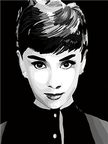 shukqueen DIY Ölgemälde, Erwachsene 's Malen nach Zahlen Kits, Acryl Gemälde Audrey Hepburn 40,6x 50,8cm, Portrait, Framed Canvas