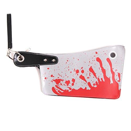 (Goods & Gadgets Clutch Blut Damenhandtasche Party Damen Handtasche Halloween blutiges Fleischerbeil)