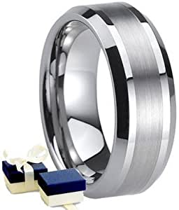Tungsten Carbide Ring - New Boxed 8mm Mens Tungsten Wedding Engagement Comfort Band Ring - Size S (Other sizes are available)