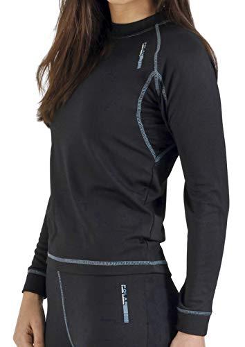 Camiseta térmica para mujer de manga larga, ideal para deportes de invierno (esquí, running, snowboarding, senderismo, pesca …) o situaciones de frío y humedad. Con aislante térmico, transpirable, ligera y confortable. También recomendado para actividades