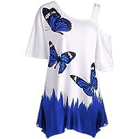BBring Damen Schulterfrei T-Shirt Sommer Mode Schmetterling Druck Kurzarm Oberteile Bluse Große Größe