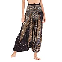 Women's Loose Peacock Feather Print 2 in 1 Baggy Aladin Yoga Harem Pants Jumpsuit (One Size, Black)