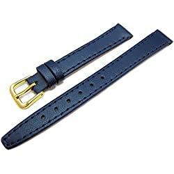 Blue Leather Watch Strap Band With A Stitched Edging And Nubuck Lining 12mm