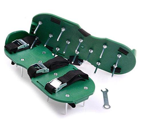 JOYOOO Rasenbelüfter Sandals Scarifier Rasenlüfterschuhe mit 13 Metalldornen