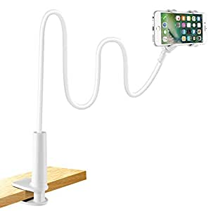 Cell Phone Holder, Lonzoth Universal Phone Holder Clip Lazy Bracket Flexible Gooseneck Clamp Long Arms Mount for iPhone 6 plus/6/5s/SE/5/4S/4, GPS Devices, Fit On Desktop Bed Mobile Stand for Bedroom, Office, Bathroom, Kitchen, etc(FOR PHONE WHITE)