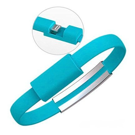 Braccialetto stile cavo USB Lightning cavo di ricarica per iPhone 6+/6/5s/5, iPad Mini, iPod Touch 5, Nano 7, alta qualità, 0,2m, Flat Style Blue