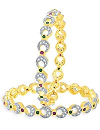Sukkhi Legendry Gold And Rhodium Plated Ruby CZ Bangles For Women