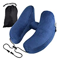 Lumiereholic Portable Travel Pillow Upgrade Inflatable Soft Velvet Airplane Neck Support Cushion Lightweight Travel Pillow for Airplanes Car Seat Camping Home Office Train Sleeping Kids Women Men Navy