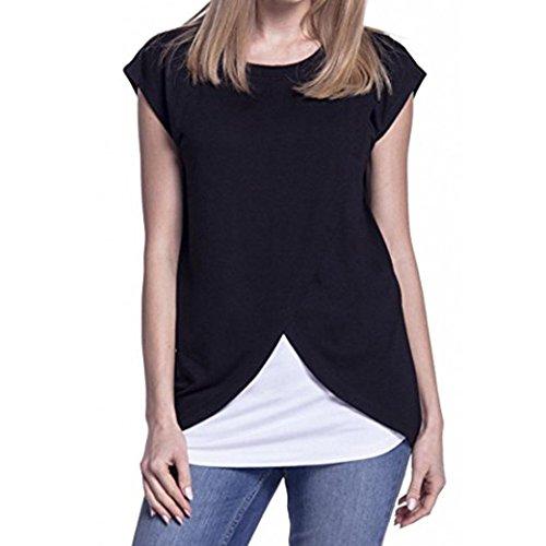 Bellelove Damen Still-Wrap Top Cap Sleeves Doppelschicht Patchwork Bluse T-Shirt (Schwarz, M) (Wrap Kleid Cap Ärmel)