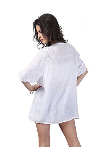 XW COSTUME Femmes Rétro Bohème Manches 3/4 La Copie Mini Robe blanc