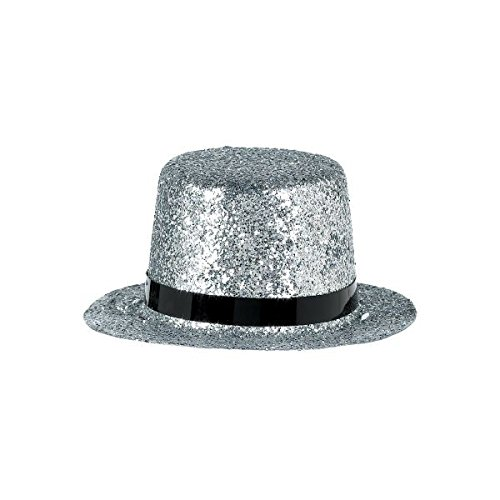 Hollywood Movies New Years Mini Silver Glitter Top Hat Parties Celebration Fun