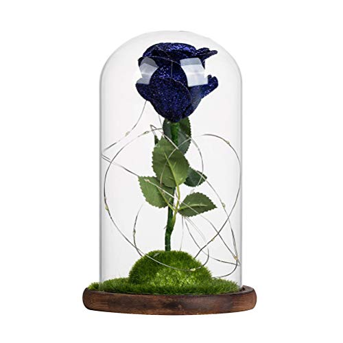 Price comparison product image OSALADI Romantic Artificial Decoration Flowers Glass Cover Fresh Preserved Rose DIY Wedding Decor for Home Birthday Gift(Royal Blue)