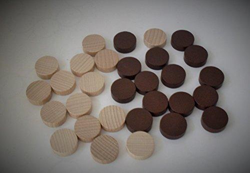 30er-Set Backgammon Spielsteine aus Ahorn-Holz (21 mm), braun/natur -