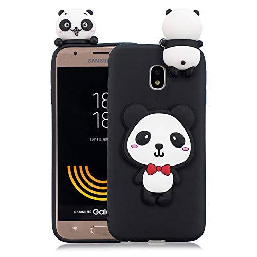 HUDDU Compatible for Samsung Galaxy J3 2017 J330 Handyhülle Gelb Hülle Weihnachten Motiv Xmas Christmas Schutzhülle 3D Cartoon Karikatur Etui TPU Silikon Case Cover - Roter Bogen Panda Galaxy Bogen