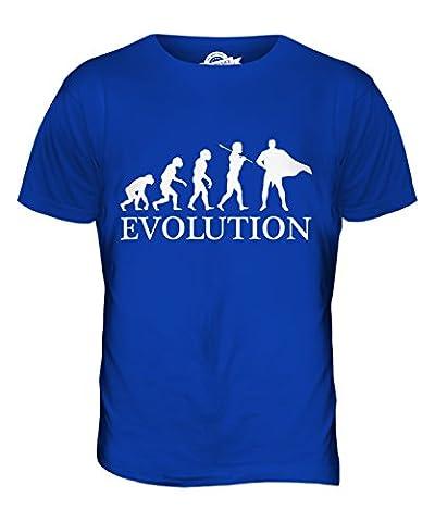 CandyMix Superheld Evolution Des Menschen Herren T Shirt, Größe 4X-Large, Farbe Königsblau (4x Superheld-kostüm)