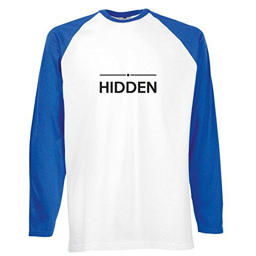 Brand88 - Hidden, Langarm Baseball T-Shirt Weiss & Blau