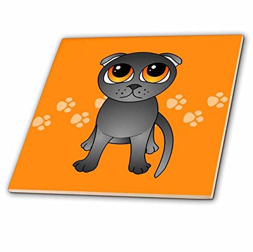 3dRose ct_77510_2 Keramikfliese mit grauen schottischen Falten Katze, Cartoon-orangefarbene Augen, Pfotenabdrücke, 15,2 cm