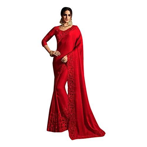 Sari Petticoat 8031 Damen Sari-Bluse, Seide, Saree, Party, indisch, Nepal, Hochzeit, Rot Rock Sari Saree