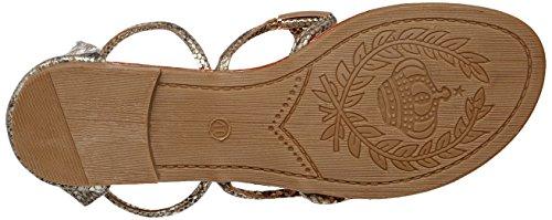 Sandales plates style python Doré