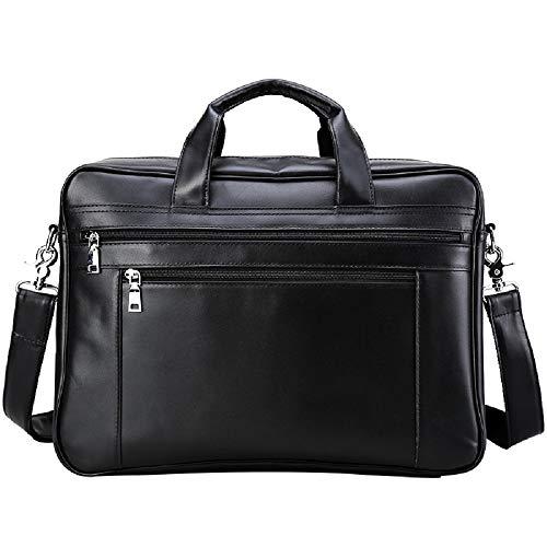 Preisvergleich Produktbild XWH Europäische und amerikanische Business-Ledertasche aus Leder, große Handtasche, Aktentasche, 17-Zoll-Computertasche, Gepäcktasche,Schwarz,cm