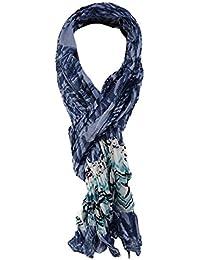 ba5dfedf6f2a34 TigerTie gecrashter Schal in blau türkis schwarz weiß gemustert - Gr. 180 x  ...