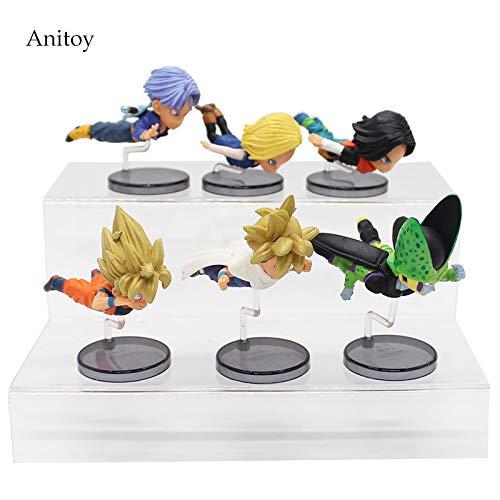 Dragon Ball 6 unids/Set TrunksEscala 1/10 Pintado Célula Gokou Android 18 y 17 PVC Figura de Juguete de Colección 5-9 cm KT4054