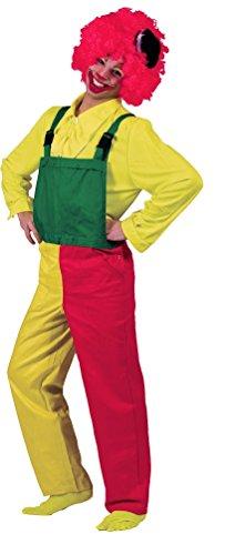 lown-Kostüm Herren bunt rot-gelb-grün Männer Clown-Latzhose Karneval Größe 48/50 ()