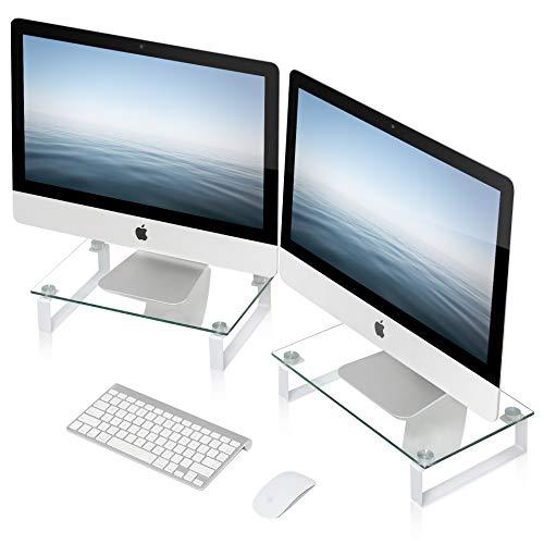 FITUEYES Monitorständer Bildschirmständer für Monitor Laptop iMac Fernsher für 2 aus Glas DT103805GC