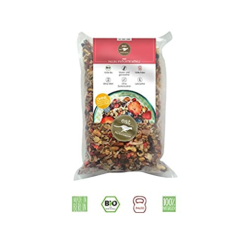 Fruit Muesli (1000g) by eat Performance (organic granola breakfast cereal, paleo, no added sugar, gluten free, lactose free, superfood, low