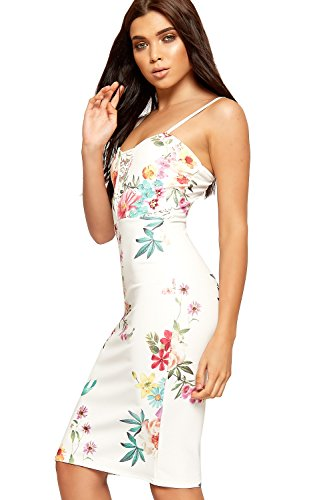 WEARALL Damen Blumen Druck Entwurf Kleid Damen Ärmellos Strappy Knie Länge Strecke - 34-40 Creme