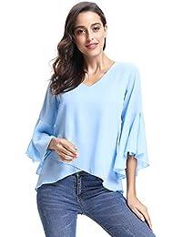 Abollria Camisa Elegante para Mujer Mangas Largas y Cuello V Blusas Verano para Mujer