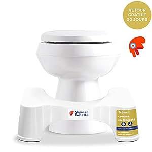 Marie en toilette  17cm - Tabouret de toilettes physiologique - Le marche pied WC recommandé par les médecins et les experts du bien-être pour une position de squatting naturelle, anti-constipation, anti-hémorroïdes, renforcement du périnée - Plastique durable taille 17cm