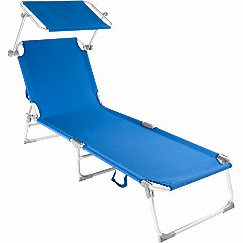 TecTake Chaise longue bain de soleil en aluminium pliable avec parasol pare soleil - diverses couleurs au choix - (Bleu | no. 401429)