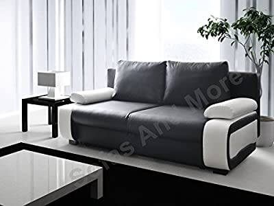 Sofa Bed 3 Seater Black White with Storage by Meble Roberto sp zoo