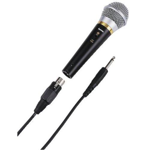 Hama Dynamisches Mikrofon (DM 20 mit Nierencharakteristik, Metallgehäuse, Kabellänge 3 m) schwarz