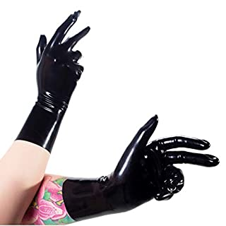 Rubberfashion kurze Latex Handschuhe, Latexhandschuhe bis zum Handgelenk mit veredelter Oberfläche nicht chloriert für Frauen und Herren Menge: 1 Paar schwarz XL