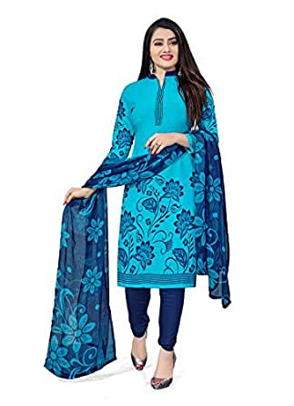 Hanoba Women's Printed Leon Synthetic Printed Dress Material with Dupatta (Sky Blue)