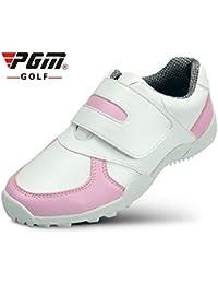 Crestgolf - Zapatillas de golf antideslizantes duraderas, para deportes al aire libre, para correr, transpirables, suaves, zapatos de golf para niños, white-pink, Eur31/Uk2