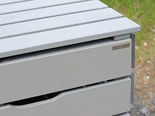 4er Mülltonnenbox / Mülltonnenverkleidung 240 L Holz, Transparent Geölt Grau - 8