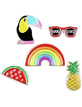Damen Mädchen Anstecker Set Rabe Regenbogen Ananas Sonnenbrille Wassermelone Metall Emaille Brosche Zugehör für...