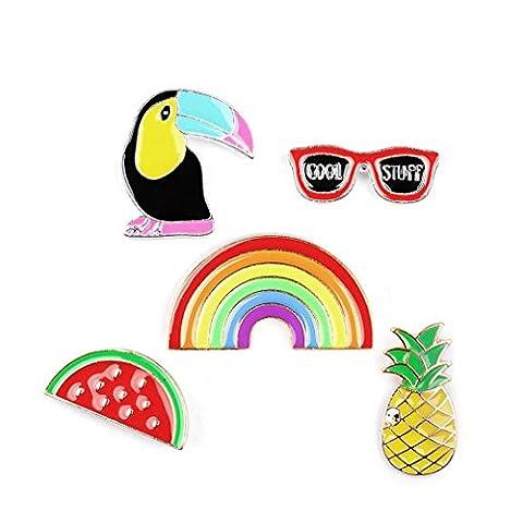 Souarts Mixte 5PCS Badge Broche Pin Forme Ananas Oiseau Arc-en-ciel en Alliage Multicolore 2.5cmx1cm-3.4cmx1.8cm