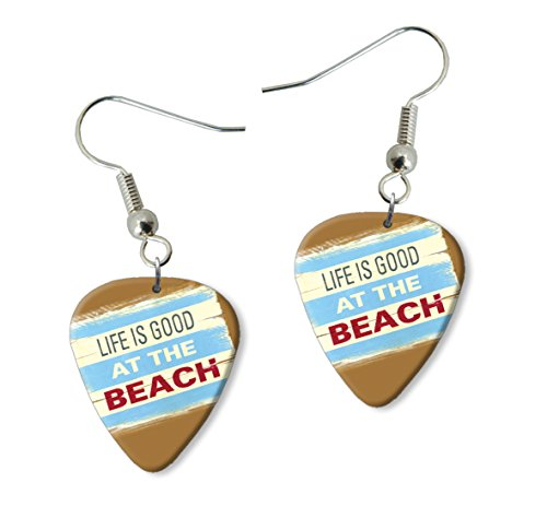 Life Is Good At The Beach Martin Wiscombe Púa Para Guitarra Earrings Vintage Retro