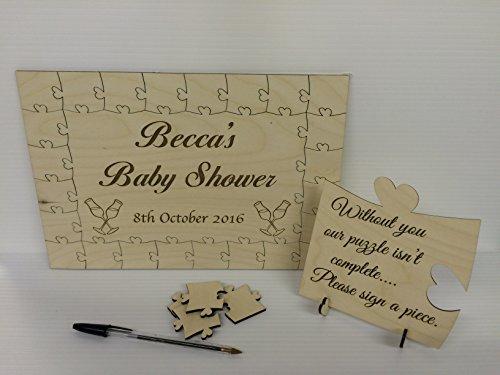 Personalizzato Baby doccia Rustico libro degli ospiti Guest Book Puzzle di legno puzzle idea regalo compleanno anniversario matrimonio, Legno, 56 pieces 400x300mm (16