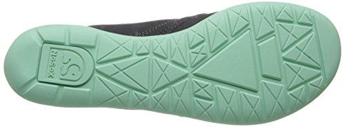 NoSox Barre Cuir Baskets Charcoal-Mint