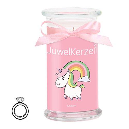 JuwelKerze Unicorn Candle - Kerze im Glas mit Schmuck - Große rosane Einhorn Duftkerze mit...