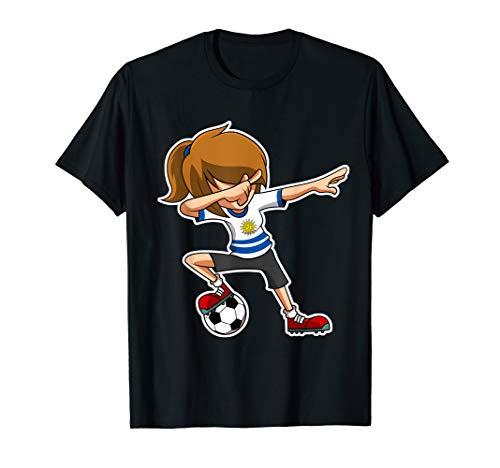 Dabbing Fußball Mädchen Uruguay Jersey, Uruguayische Kinder T-Shirt (Uruguay Jersey)